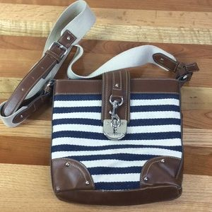 Chaps Bags - Chaps Navy Blue & Cream Striped Crossbody Bag